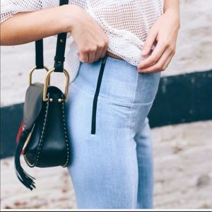 {Lucy} high waisted cropped wide leg pants indigo